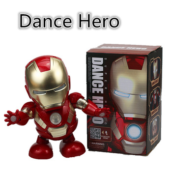 1pc Dancing Robot Iron Man LED Flashlight with Music Avengers Iron Man Hero Model Kids Holiday Gift