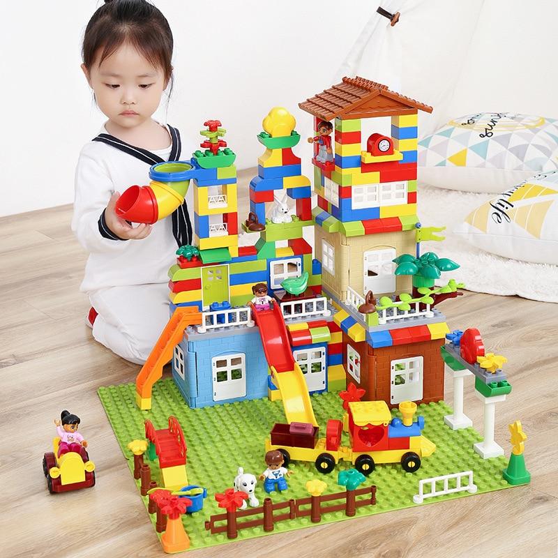 Nouveau 239 pcs Grande Taille Blocs de Construction Ville Parc D'attractions Assemblage Blocs Enfants Jouets BRICOLAGE Cadeau Compatible Legoinglys Duploes