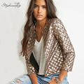 2017 Primavera Estilo Vogue Mujeres Rombo Oro Lentejuelas Chaquetas Outwears Abrigos de Moda de la manga Tres quater