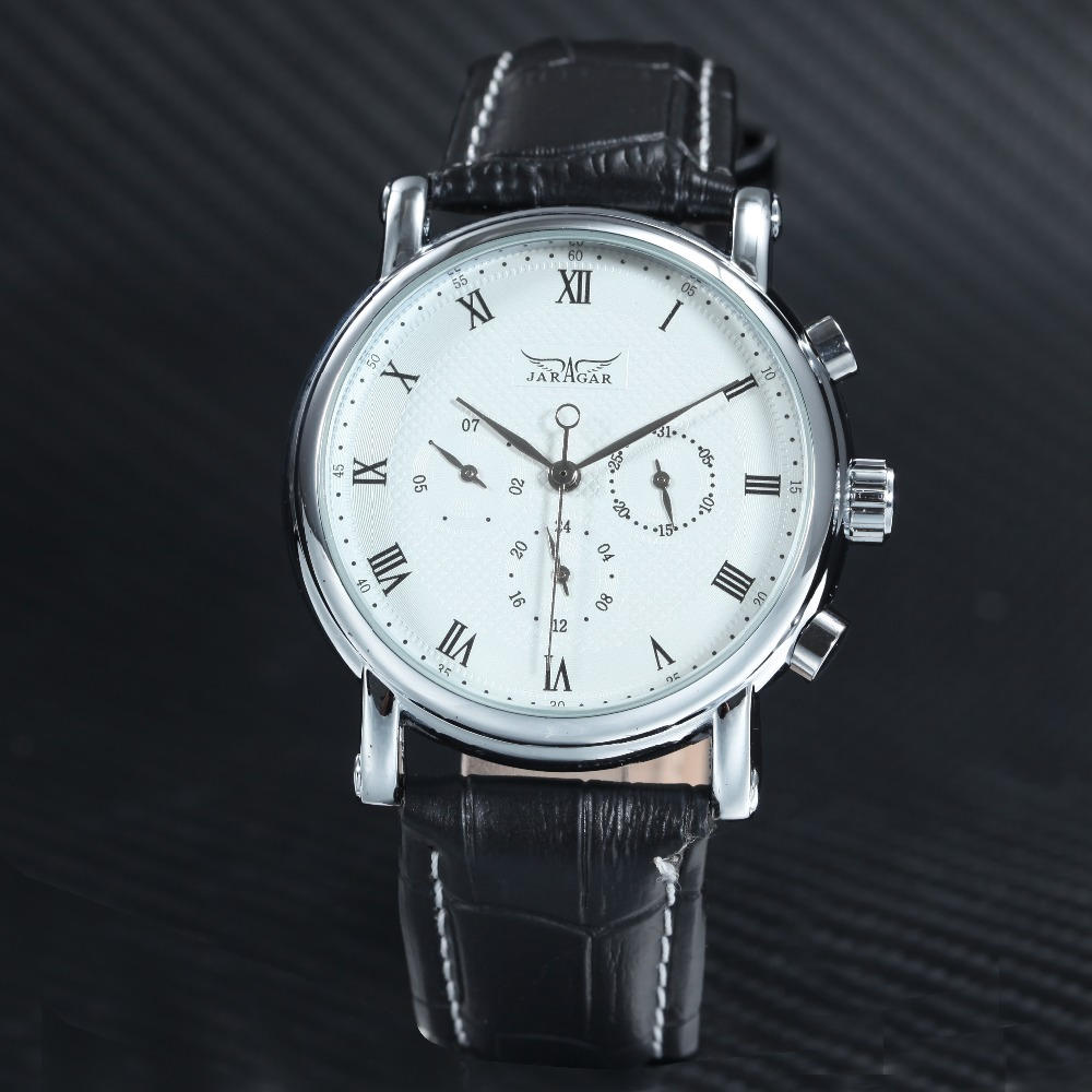 JARAGAR Fashion Business Watches Men Leather Strap 3 Small Working Sub-dials Top Brand Luxury Automatic Mechanical Wrist Watch