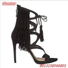 Retro Fringe Narrow Band Women Sandals Open Toe High Heels Shoes Women Ankle Strap Thin Heels Women Party Shoes Zipper Gladiator