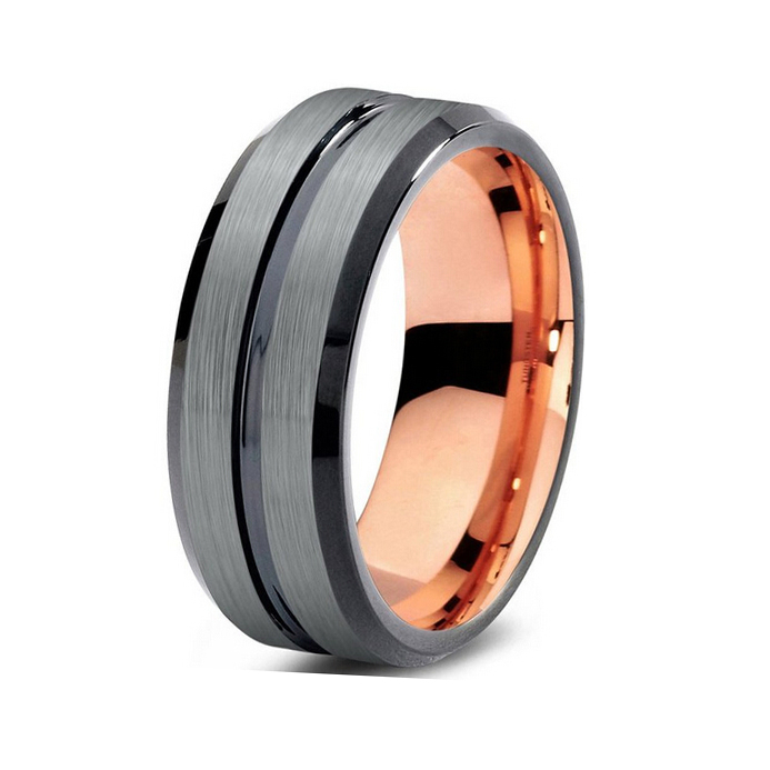 So Cool Tungsten New Ring With Black&Rose Gold Color High Quality And Comfort Fit