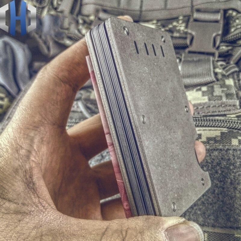 EDC titane alliage portefeuille porte-carte pince à billets en métal laiton Simple hommes carte sac en aluminium portefeuille
