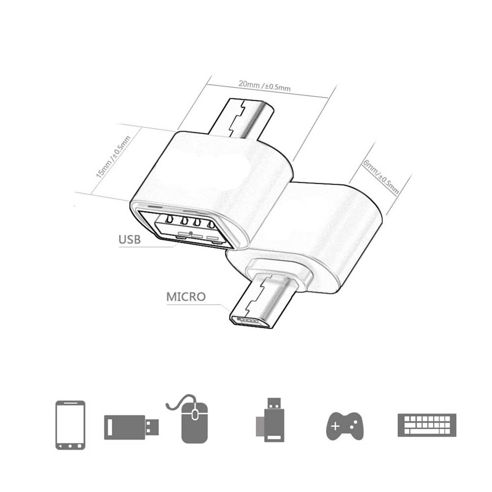 Ingelon Micro USB Adapter USB to MicroUSB Cable Converter for Pendrive USB Flash Drive to Phone Mouse Keyboard OTG A USB Gadget (6)