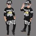 Carro letras Impressas Meninos Conjunto de Roupas Meninas 2016 Nova Moda marca Esporte Terno Camisolas & Harem Pants Crianças Hip Hop roupas