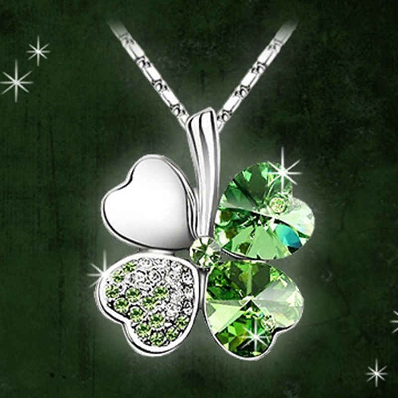 1 pc Fashion Austria Crystal Sweet style half rhinestone crystal clover Pendant Necklace colorful neckalce
