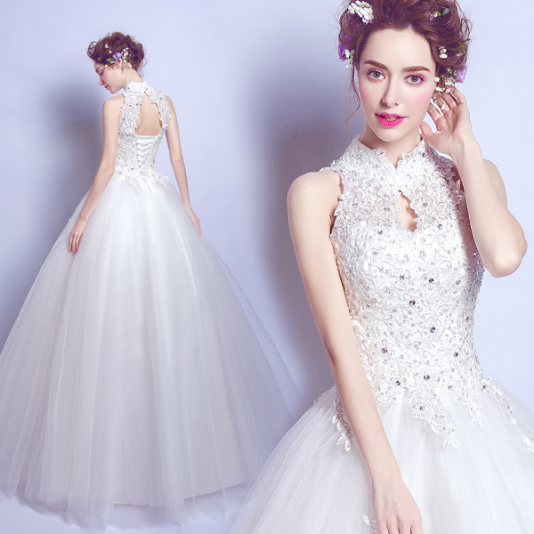 2017 New Arrival Vintage Small Stand Collar Halter Ball Gown Wedding ...