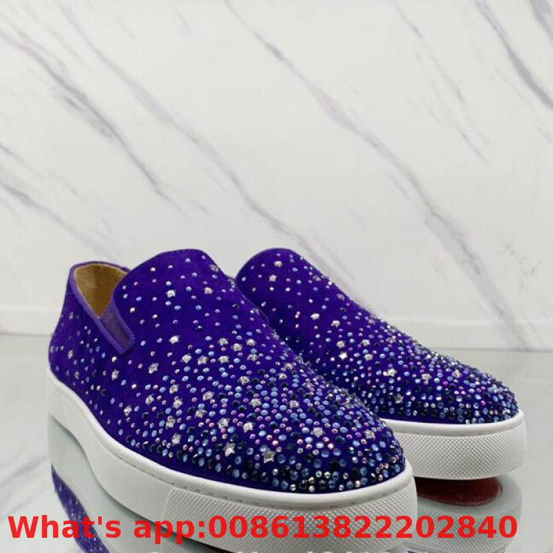 Lace Up Red Bottoms Shoes Low Cut For Men Purple Rhinestone Diamond Leather Suede Rivet Casual Sneakers Flat Loafers(China)