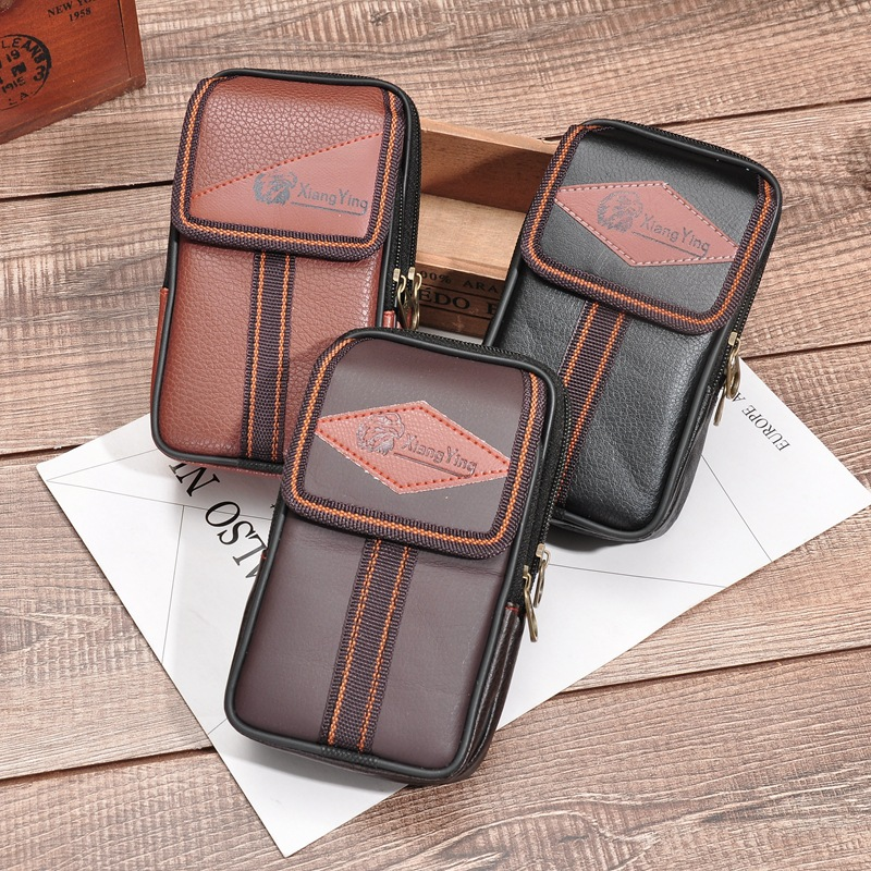 BISI GORO PU Leather Men Card Waist Bag Multi-function Phone Wear Belt Pocket Solid Zipper Porta Tarjetas Heuptas Heren Gift
