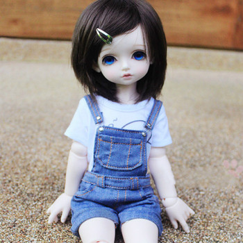 BJD doll clothes all-match flanging denim shorts with braces 4 color-  MSD Rosenlied Bambi RL Doll  yosd
