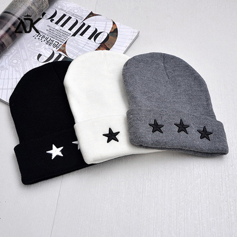 Embroidery Hip Hop Knitted Hat Women's Winter Cap Outdoor Stars Bonnet Solid Color Ski Hat Female Spring Autumn Skullies Beanies