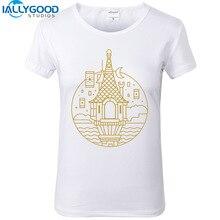 New Summer Castle T-shirt Women Print Geometry Line art T-Shirt Short Sleeve Cotton Tops Slim White T shirts S682-684
