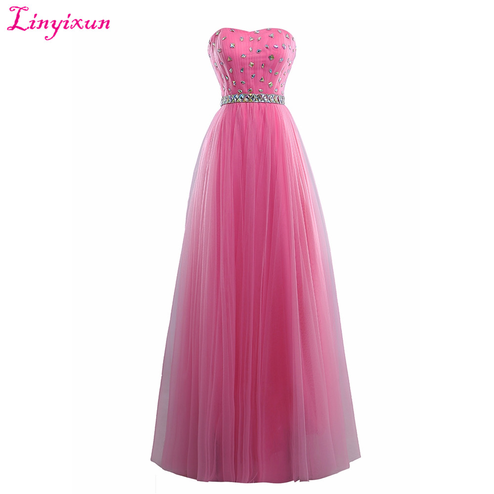 Linyixun Real Photo New Arrival   Prom     Dresses   2017 Beaded Sweetheart Sleeveless Long Evening   Dress   Tull vestido de festa