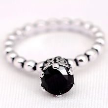 925 Sterling Silver Black Spinel Bubble Ring agbP4lGR