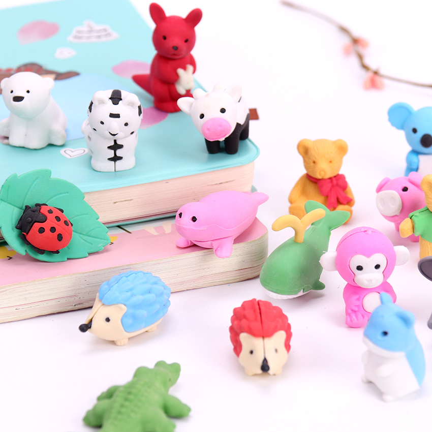 1PC Novelty Animal Rubber Eraser Creative Kawaii Pencil Erasers Stationery School Supplies Papelaria Gift For Kids
