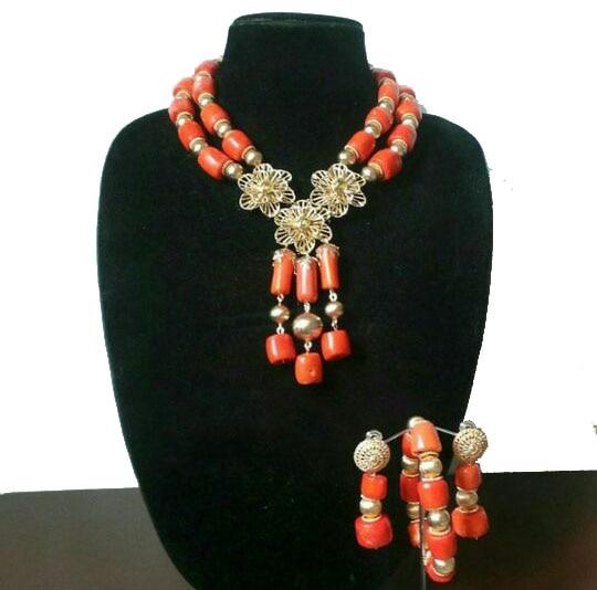 Luxury Dubai Gold Bold Statement Necklace Jewelry Set Red African Beads Wedding Nigerian Costume Jewellery Set Luxury Dubai Gold Bold Statement Necklace Jewelry Set Red African Beads Wedding Nigerian Costume Jewellery Set WE182