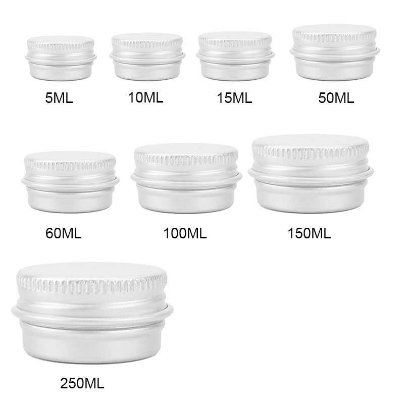 1PC 5ML-250ML Small Tin Packing Box Refillable Containers Aluminum Cosmetic Storage Jars Cosmetic Screw Top Sample Containers