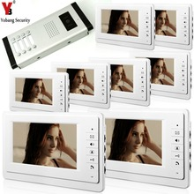 YobangSecurity 7 Inch Wired Video Door Phone Visual Intercom Doorbell with 8* Monitor+1*Camera For 8 Units Apartment Intercom