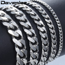 Bracelet for Men Women Curb Cuban Link Chain Stainless Steel Mens Womens Bracelets Chains Davieslee Jewelry for Men DLKBM05(China)
