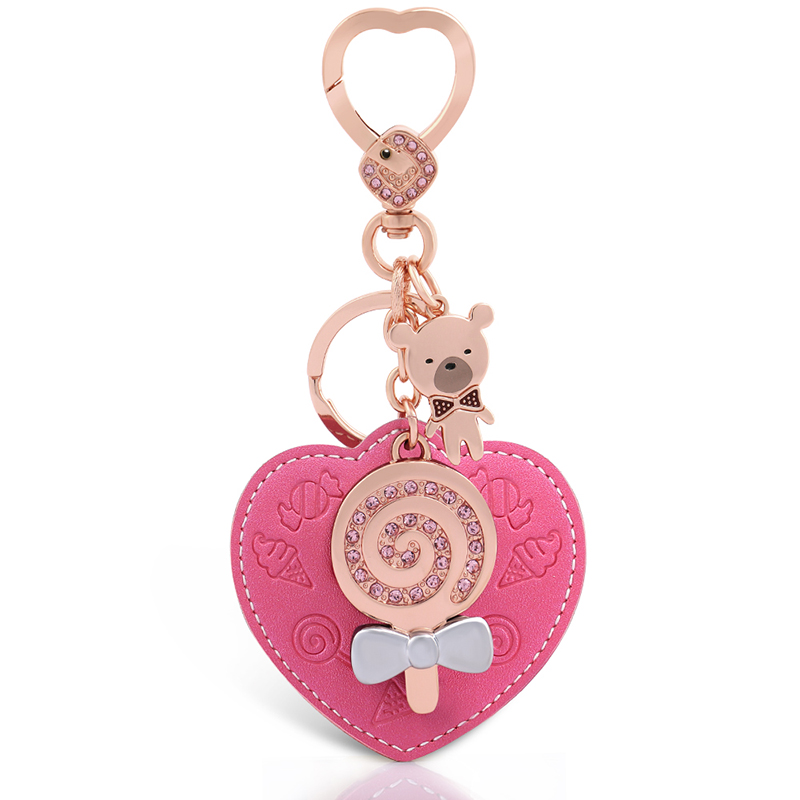 Milesi Women Leather Keychain Pendant Heart Shape Car Keyring Original Design Rhinestone Bag Trikent Lover Novelty Gift D0035