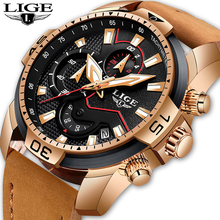 LIGE New Men Watches Top Brand Luxury Leather Quartz Clock Male Sport Waterproof Men Fashion Gift Gold Watch Relogio Masculino lige new fashion men watches top brand luxury rose gold quartz watch men casual waterproof sport watch relogio masculino