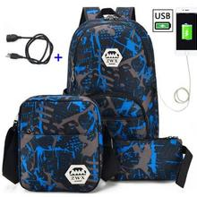 3pcs USB Male backpack bag set red and blue high school