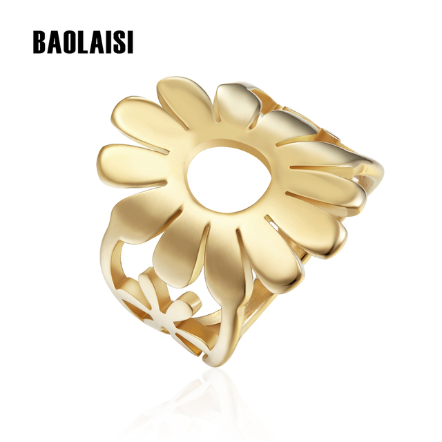 BAOLAISI Circle Sunflower Rings New Brand 2017 Female Size Rings Fashion Popular Jewelry Stainless Steel Rings Gold Silver Color