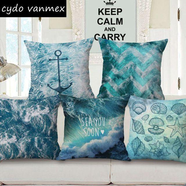 Ocean Sea Cushion Cover Marine Sofa Chair Throw Pillow Case Nautical Anchor  Almofada Decorative Cotton Linen