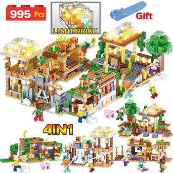 My World Blocks 3D LED Light Farm Series Compatible LegoINGLYS Minecrafted  DIY Guard Educational Fun Toys For Children