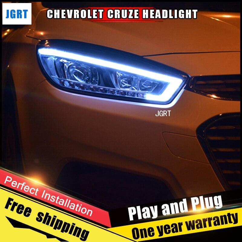 2PCS Car Style LED headlights forChevrole Cruze 15-16 for Cruze head lamp LED DRL Lens Double Beam H7 HID Xenon bi xenon lens hireno headlamp for 2016 hyundai elantra headlight assembly led drl angel lens double beam hid xenon 2pcs