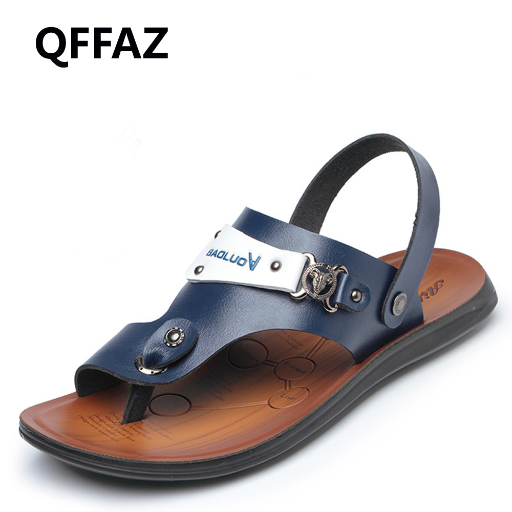 QFFAZ New Fashion Men Sandals Casual Shoes Leather Classic High Quality Solid Soft Male Beach Sandals Breathable Flats Shoes