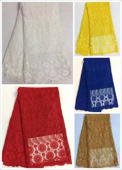Latest Design african lace fabric guipure cord polyester hot Sale High quality nigerian lace fabrics for Wedding Dress