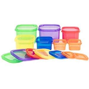 Image 1 - Boîtes de rangement en plastique, 7 pièces/ensemble boîte à déjeuner, boîte de contrôle de la Portion multicolore, Kit de couvercles sans BPA, boîte de stockage des aliments en Bento