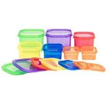 Cajas de almacenamiento de plástico 7 unids/set fiambrera Multi Color porción recipiente de control Kit BPA tapas libres etiquetadas Bento caja de comida Stora