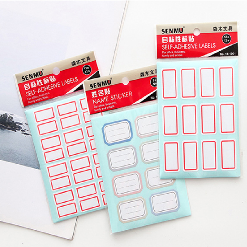 144pcs/lot 12 Sheets White Self-Adhesive Label Sticker Name Number Blank Note Writable Labels Tags