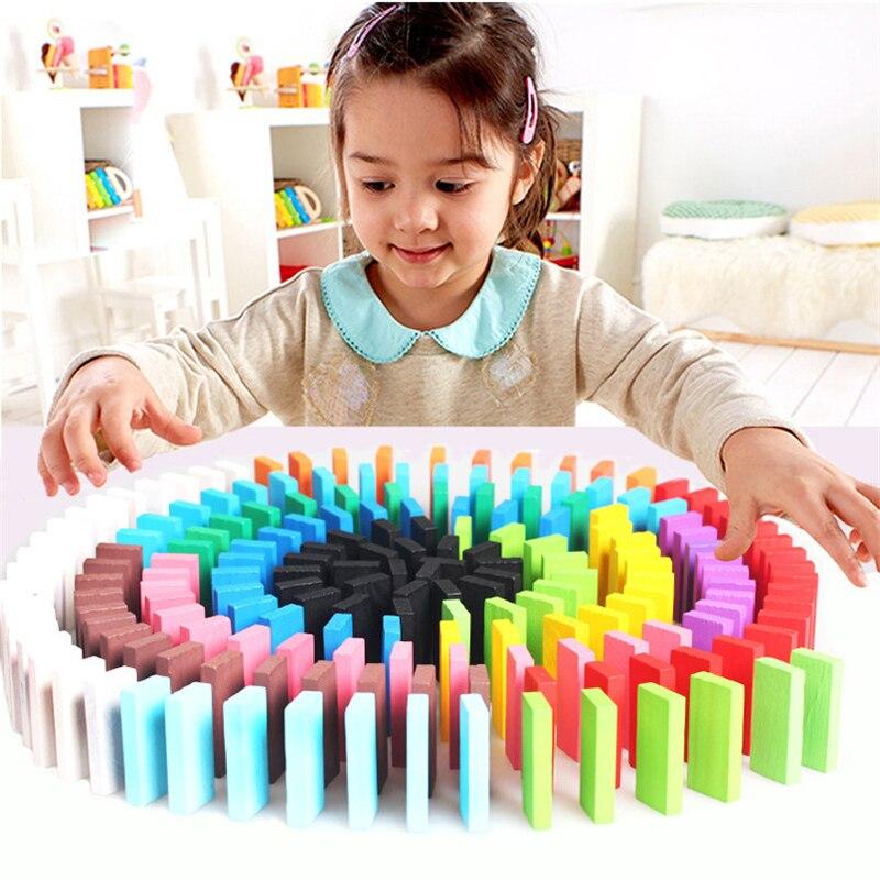 120 Stks/set Regenboog Domino Blokken Vroeg Leren Houten Bouwstenen Educatief Gekleurde Dominos Speelgoed Voor Kinderen