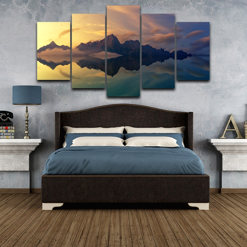 wall art foto moderne woonkamer decor foto 5 panel slaapkamer poster lake landschap canvas hd gedrukt schilderen frame pengda in wall art foto moderne