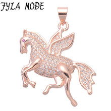 Fyla Mode Luxury Cubic Zirconia Charms Metal Brass Horse With Wing Pendant For Necklace Micro Pave CZ Rose Gold Horse Pendant