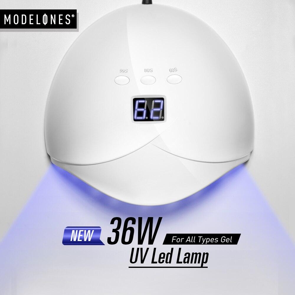 Modelones 36 W UV Led Lampe Nagel Trockner Für Alle Arten Gel 12 Leds UV Lampe für Nagel Maschine Aushärtung 60 s/80 s/99 s Timer USB Stecker