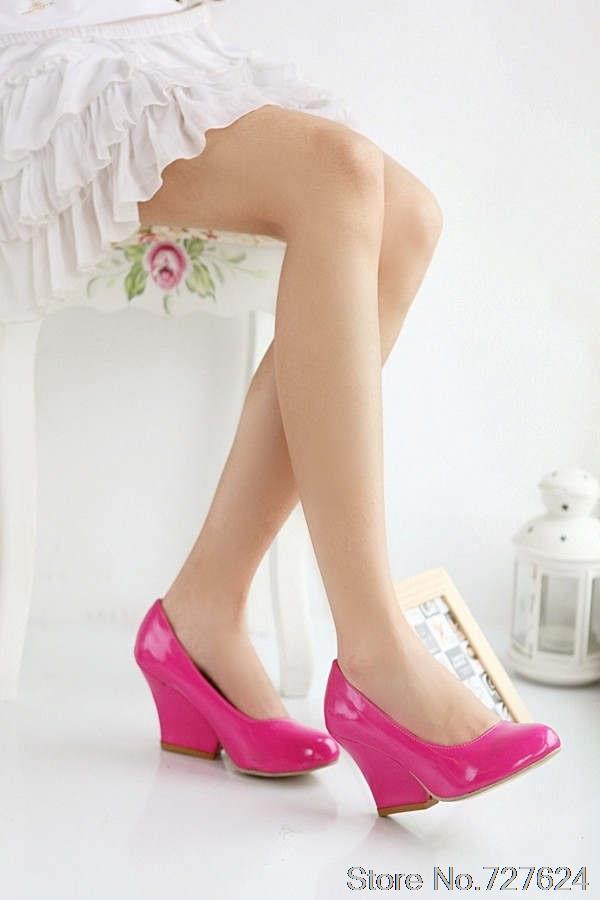 Pumps shoes font b woman b font Patent Leather New 44 43 40 high heel 7CM