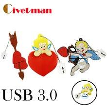 Civetman Original Cupids Cute USB 3.0 High Speed USB Flash Drives Pendrives 64GB 32GB 16GB 8GB 4GB Memory Stick External Storage
