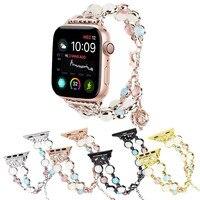 Pulsera elástica hecha a mano con cuentas para mujer y niña, nuevo diseño, para Apple Watch SE, Series 6, 5, 4, 3, correa de 44mm, 40mm, 38mm y 42mm
