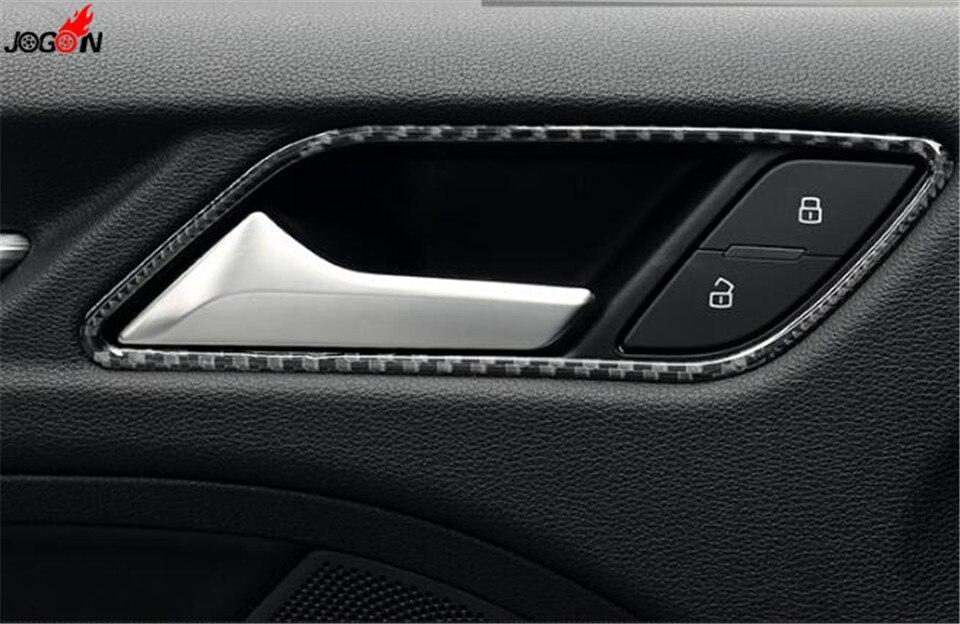 4pcs Interior Carbon Fiber Door Handle Bowl Frame Cover Trim For Audi A3 8v 2013 2016 In