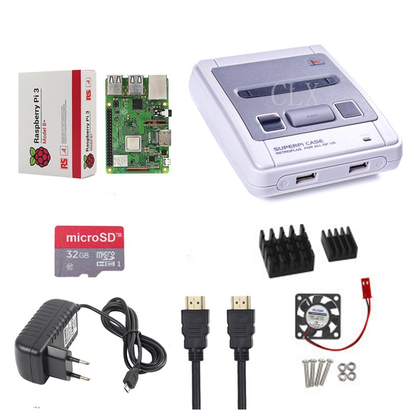 Retroflag SUPERPi CASE J NESPi Case+ Raspberry Pi 3 Model B+(plus)+32GB card+5V 3A Power+Heat Sink+fan+2pcs game handle+HDMI-in Demo Board Accessories from Computer & Office