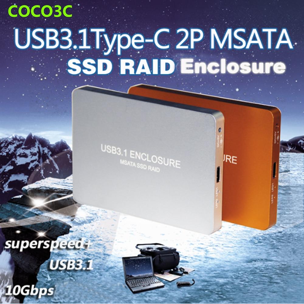 Free Shipping USB 3.1 Type-C to 2 MSATA SSD RAID Enclosure USB-C to Dual mini SATA adapter mSATA SSD External Box + RAID0 RAID1 orient uhd 2msc12 шасси для ssd msata для установки в sata отсек оптического привода ноутбука 12 7 мм