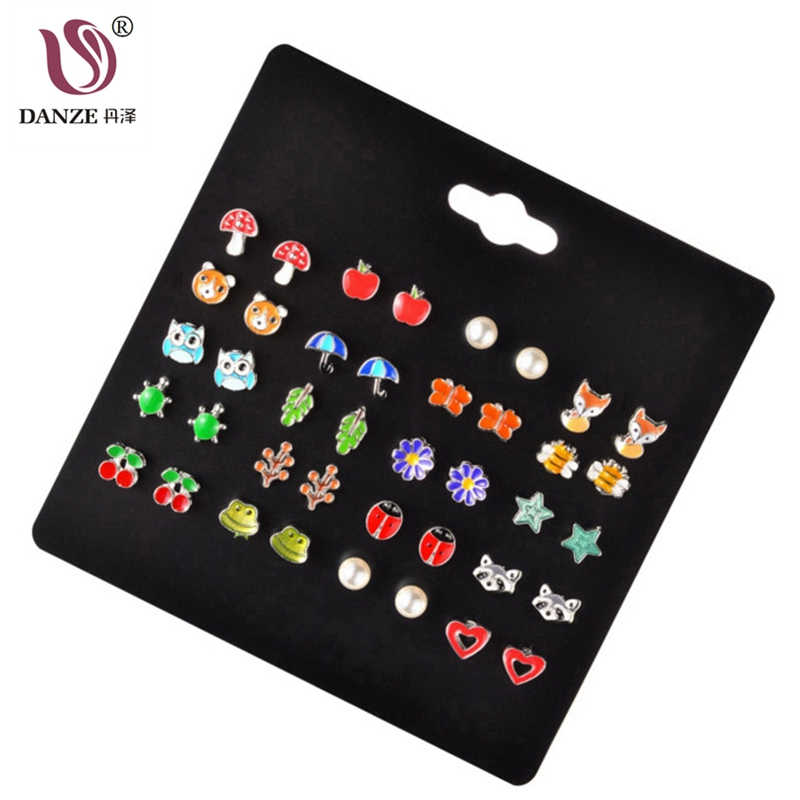 DANZE 20 Pairs/lot Cute Fruit Animal Stud Earrings Set For Children Women Frog Fox Star Heart Shape Ear Jewelry Dropshipping