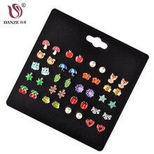 DANZE 20 Pairs/lot Cute Fruit Animal Stud Earrings Set For Children Women Frog F
