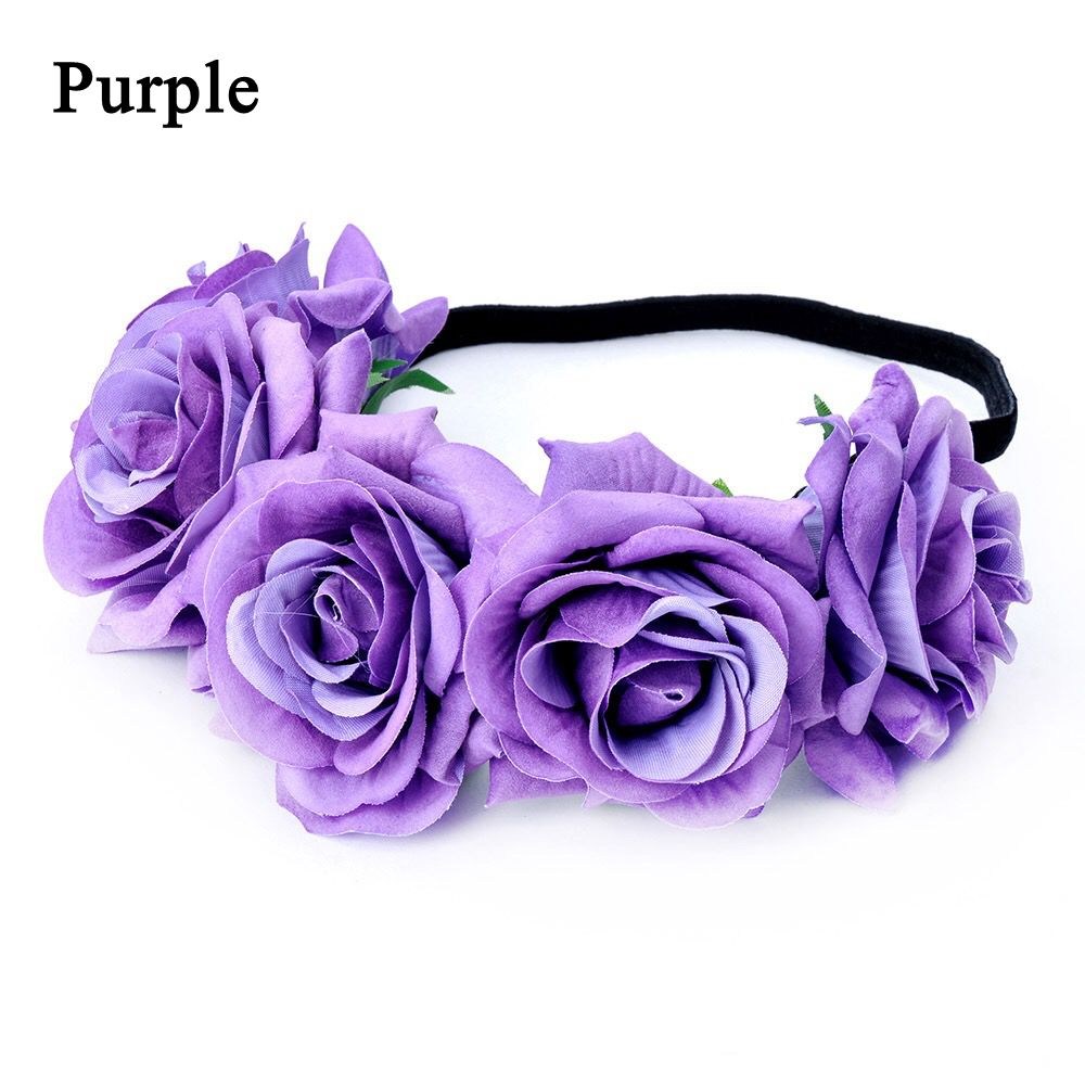 Okdeals 1PC Fashion Bohemia Style Rose Flower Headbands Floral Crown Hairband Wedding Hair Garland Bridal Girls Hair Acessories 5