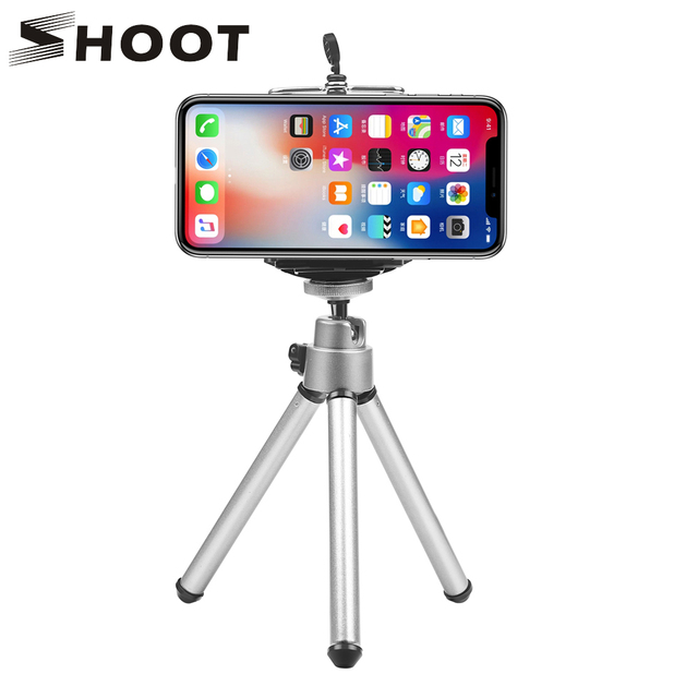 SHOOT حامل ثلاثي القوائم للهواتف الذكية, حامل ثلاثي القوائم صغير مرن من الألومنيوم لأجهزة iPhone X 8 7 6S Xiaomi Samsung Huawei Sony حامل ثلاثي للهاتف المحمول للهواتف الذكية