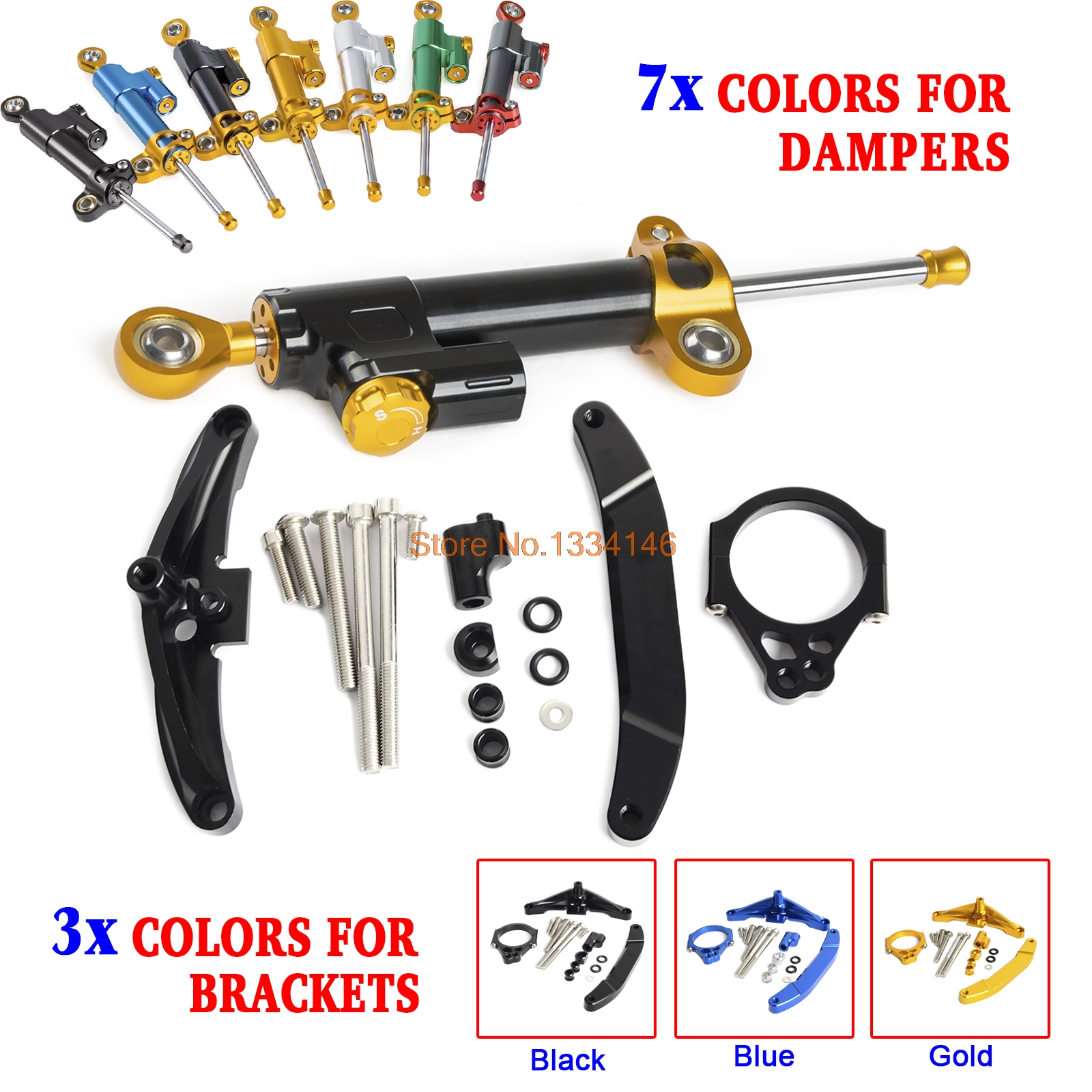 Motorcycle CNC Aluminium Steering Damper Stabilizer With Mounting Kits Bracket For Yamaha FZ1 FAZER 2006-2015 Black Blue Gold motorcycle cnc steering damper mounting bracket for yamaha fz1 fazer 2006 2007 2008 2015